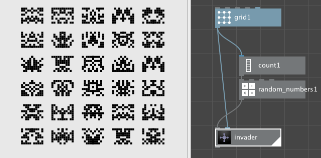 A grid of random invaders